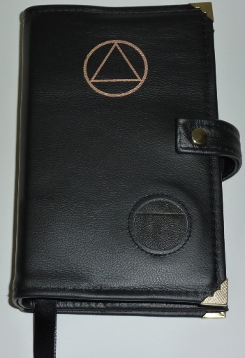 Image of Black Genuine Leather Deluxe Double Book cover for the Big  Book & 12n12 Hardback w/ AA Symbol, Medallion Holder, Snap Strap, Penholder, Bookmarks, & Metal Tips