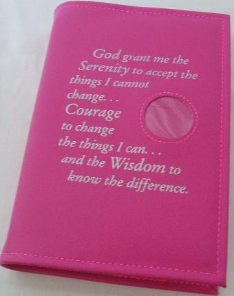 Picture of PINK Big Book Cover with Serenity Prayer(Silver) and Medallion Holder