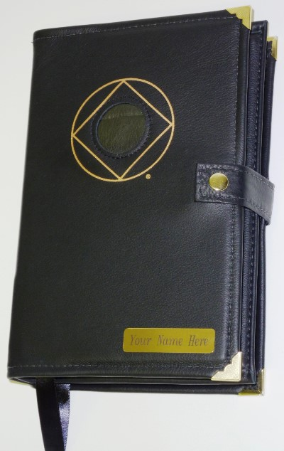 Image of CUSTOM Genuine LEATHER Deluxe Double Cover w/ NA Symbol & Medallion Holder with NAME PLATE